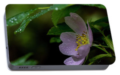 Portable Battery Charger featuring the photograph Wild Rose With Shelter by Darcy Michaelchuk