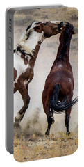 Wild Stallion Battle - Picasso And Dragon Portable Battery Charger by Nadja Rider