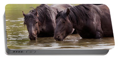 Wild Stallions At The Water Hole Portable Battery Charger