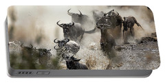 Wildebeest Herd Crossing The Mara River Portable Battery Charger