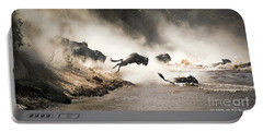 Wildebeest Leap Of Faith Into The Mara River Portable Battery Charger