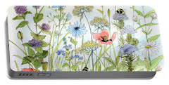 Wildflower And Bees Portable Battery Charger by Laurie Rohner