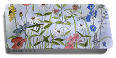 Wildflower And Blue Sky Portable Battery Charger by Laurie Rohner