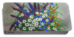 Portable Battery Charger featuring the painting  Wildflower Basket Acrylic Painting A61318 by Mas Art Studio