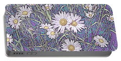 Wildflower Daisies In Field Of Purple And Teal Portable Battery Charger