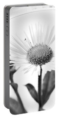 Wildflower In A Wine Glass Black And White Portable Battery Charger