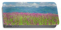 Wildflower Meadows And The Carpathian Mountains, Romania Portable Battery Charger