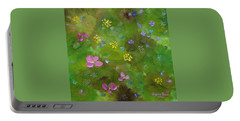 Portable Battery Charger featuring the painting Wildflower Support by Judith Rhue