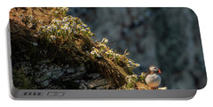 Portable Battery Charger featuring the photograph Wildflowers And Puffin  by Cliff Norton