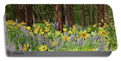 Balsamroot And Lupine In A Ponderosa Pine Forest Portable Battery Charger