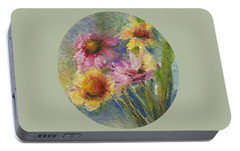 Portable Battery Charger featuring the painting Wildflowers by Mary Wolf