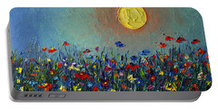 Wildflowers Meadow Sunrise Modern Floral Original Palette Knife Oil Painting By Ana Maria Edulescu Portable Battery Charger
