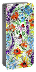 Portable Battery Charger featuring the painting Wildflowers  by Monique Faella
