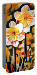 Wildly Abstract Daffodil Pair Portable Battery Charger