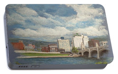 Portable Battery Charger featuring the painting Wilkes-barre And River by Christina Verdgeline