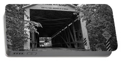 Wilkins Mill Covered Bridge Black And White Portable Battery Charger