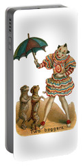 Portable Battery Charger featuring the digital art Will Work For Food by ReInVintaged