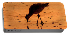 Portable Battery Charger featuring the photograph Willet On Sunrise Surf by Steven Sparks