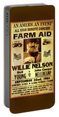 Willie Nelson 1985 Vintage Farm Aid Poster Portable Battery Charger