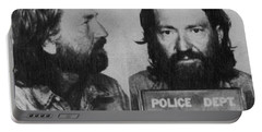 Willie Nelson Mug Shot Horizontal Black And White Portable Battery Charger