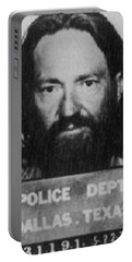 Willie Nelson Mug Shot Vertical Black And White Portable Battery Charger