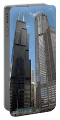 Willis Tower Aka Sears Tower And 311 South Wacker Drive Portable Battery Charger by Adam Romanowicz