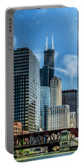 Willis Tower, Skyline And Chicago River On A Sunny Day  Portable Battery Charger