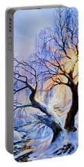 Portable Battery Charger featuring the painting Willow Creek Sunset by Hanne Lore Koehler