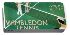 Wimbledon Tennis Southfield Station - London Underground - Retro Travel Poster - Vintage Poster Portable Battery Charger