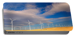 Wind Farm Against The Sky Portable Battery Charger