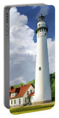 Portable Battery Charger featuring the painting Wind Point Lighthouse by Christopher Arndt