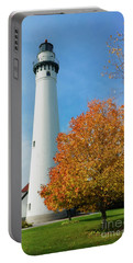 Wind Point Lighthouse In Autumn Portable Battery Charger