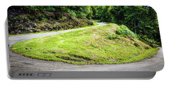 Winding Road With Sharp Bend Going Up The Mountain Portable Battery Charger by Semmick Photo