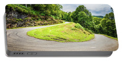 Winding Road With Sharp Curve Going Up The Mountain Portable Battery Charger by Semmick Photo