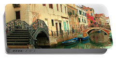 Winding Through The Watery Streets Of Venice Portable Battery Charger by Barbie Corbett-Newmin