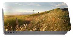 Windmill And The Fence Sundown Portable Battery Charger