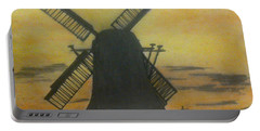 Windmill At Sunset Portable Battery Charger by Francine Heykoop