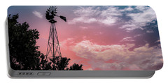 Windmill At Sunset Portable Battery Charger