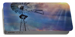 Portable Battery Charger featuring the photograph Windmill At Sunset by Susan Candelario