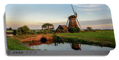 Windmill In The Countryside In Holland Portable Battery Charger