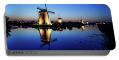 Windmills At Dusk In The Blue Hour Portable Battery Charger