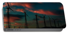 Windmills At Sunrise Portable Battery Charger