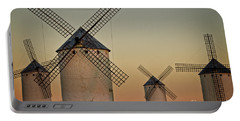 Portable Battery Charger featuring the photograph Windmills In Golden Light by Heiko Koehrer-Wagner