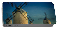 Portable Battery Charger featuring the photograph Windmills Under Blue Sky by Heiko Koehrer-Wagner