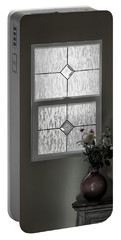 Window And Flowers In Vase Portable Battery Charger
