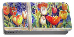 Window Box Tulips Portable Battery Charger