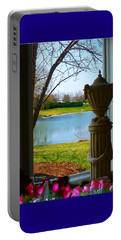 Portable Battery Charger featuring the pyrography Window View Pond by Elly Potamianos