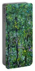 Portable Battery Charger featuring the painting Windsor Way Woods by Judith Rhue