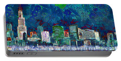 Windy Chicago Illinois Skyline Party Nights 20180516 V2 Portable Battery Charger