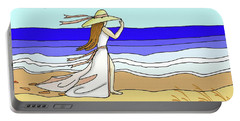 Windy Day At The Beach Portable Battery Charger by Patricia L Davidson